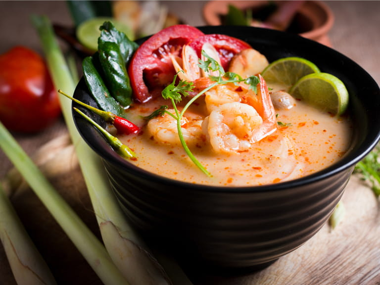 Tom Yam Goong, a Thai hot and sour soup with prawns