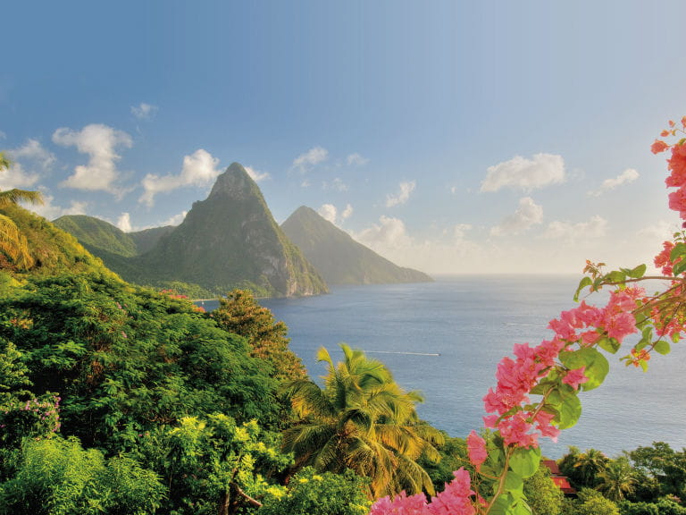 A view of the Pitons in St Lucia