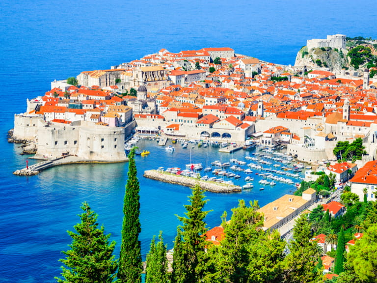 Dubrovnik, Croatia. Picturesque view on the old town (medieval Ragusa) and Dalmatian Coast of Adriatic Sea