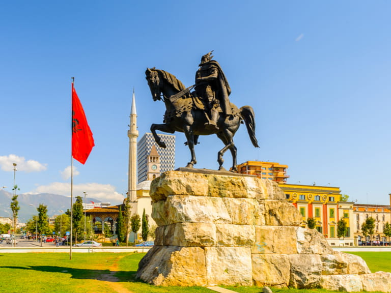 Skanderberg monument on the Skanderbeg Square, the main plaza named in 1968 after the Albanian national hero Skanderbeg