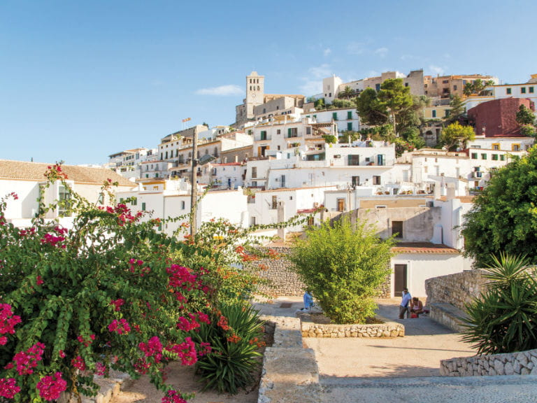 The old city of Ibiza town in summer