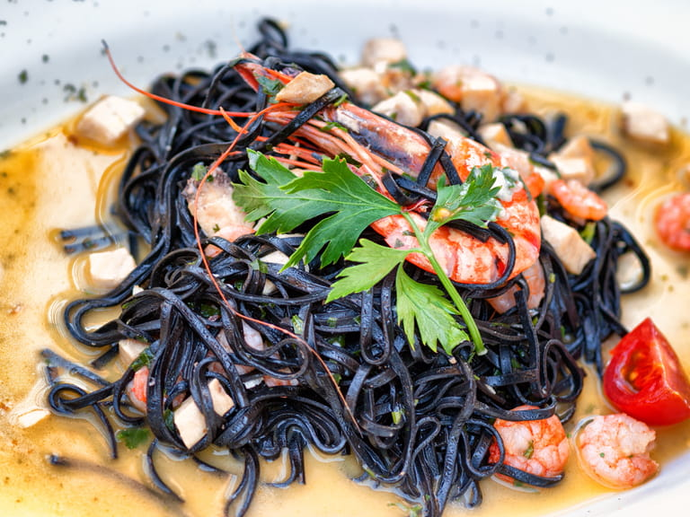 Spaghetti al nero di sepia, Italian dish of spaghetti with cuttlefish ink.