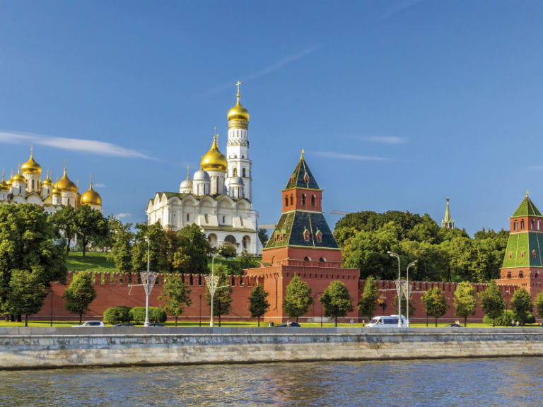 The Kremlin Palace by the Moscow River, seen from the Red Bridge