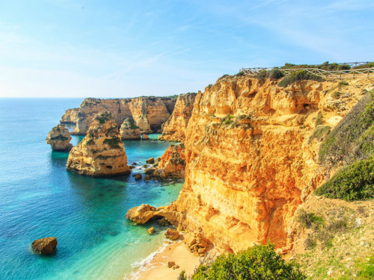 Cliffs overlooking a beach on the Algarve, Portugal