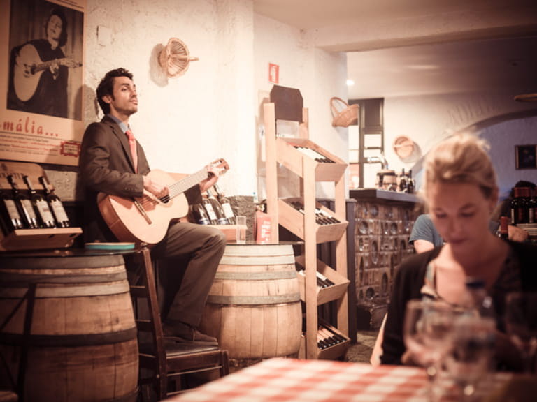 Spellbinding and mournful Fado music being played in cafe in Lisbon