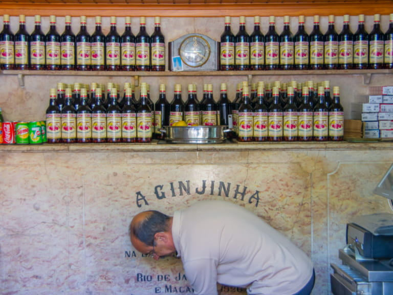 A Ginjinha Registada, the oldest and most famous establishment in Lisbon dedicated to sell Ginjinha, a type of Sour Cherry Brandy typical of the city Image © giuseppe carbone / Shutterstock.com