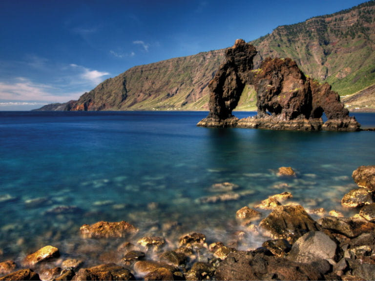 A natural sea arch just off the coast of the Canary Islands
