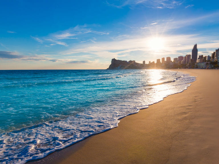 A view of Benidorm from one of the surrounding beaches