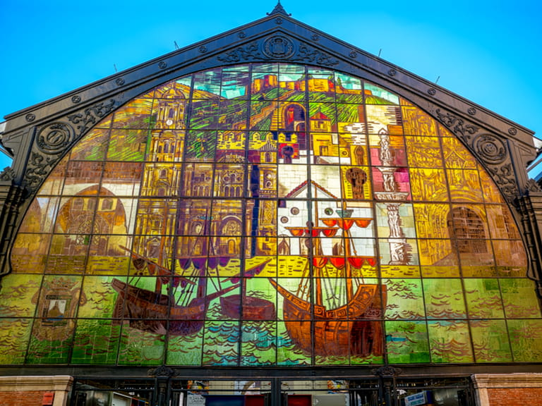 Stained glass entrance to Central Market Atarazanas in Malaga Spain
