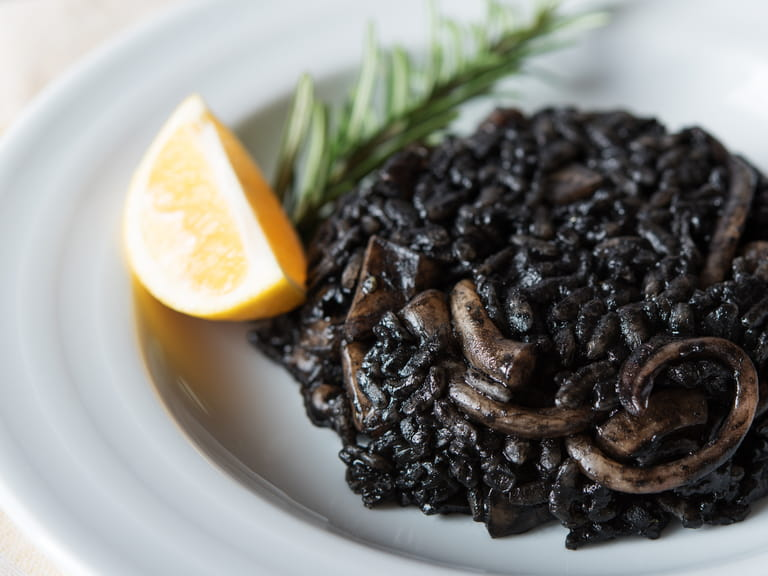 Squid ink and rice at Martín Berasategui in Spain