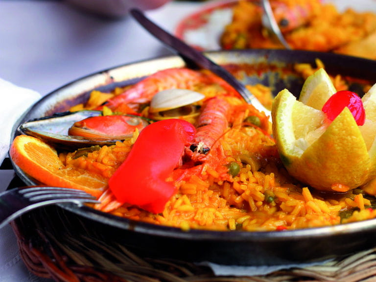 A traditional seafood paella, prepared in the Costa Blanca