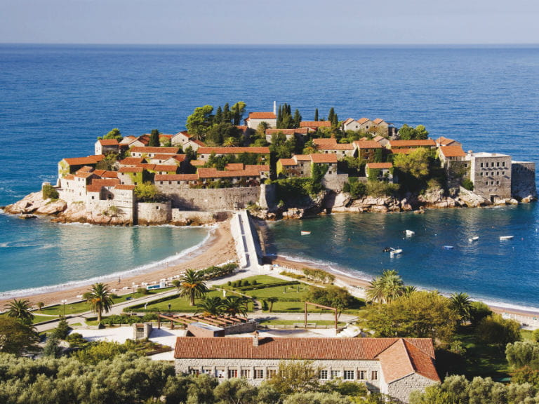 Sveti Stefan, a coastal village on the Budva Riviera, Montenegro