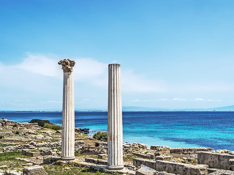 Tharros columns on a clear day, Sardinia