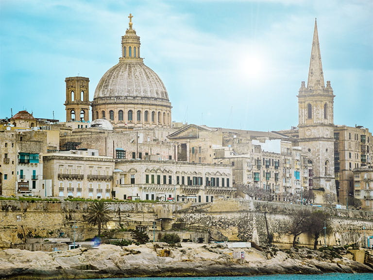 Valletta, Malta featuring Basilica of Our Lady of Mount Carmel