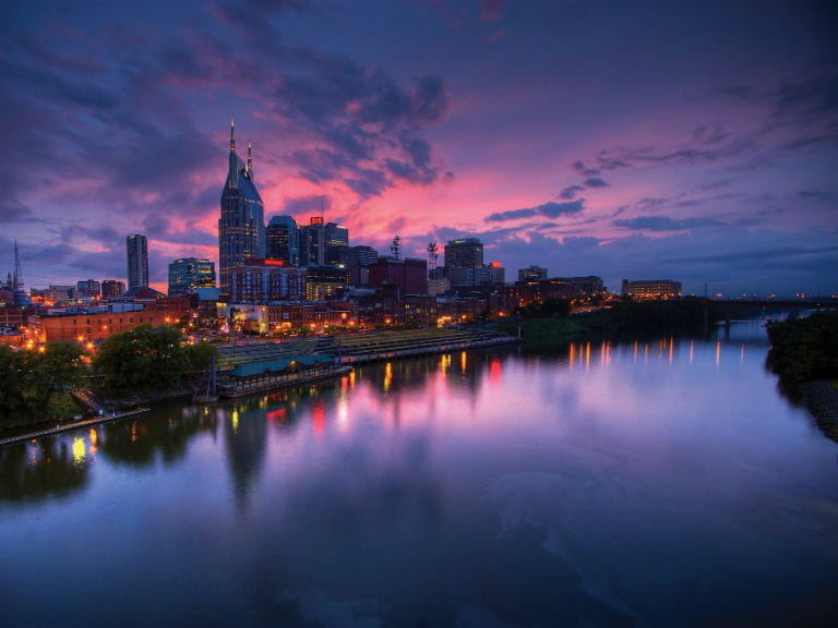 A view over the Cumberland River and inner city in Nashville, Tennessee