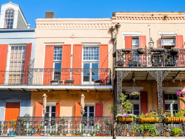 Terraced houses in the French Quarter, New Orleans