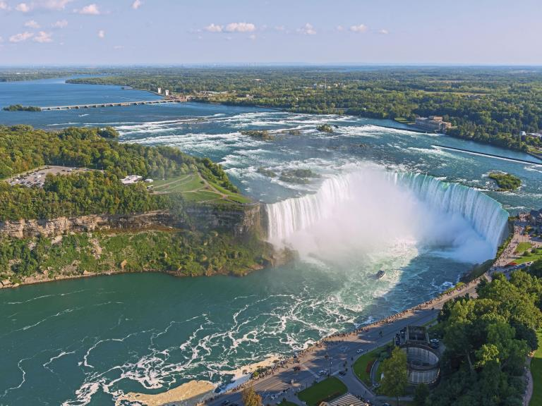 An aerial view of the Niagara Falls, Canada
