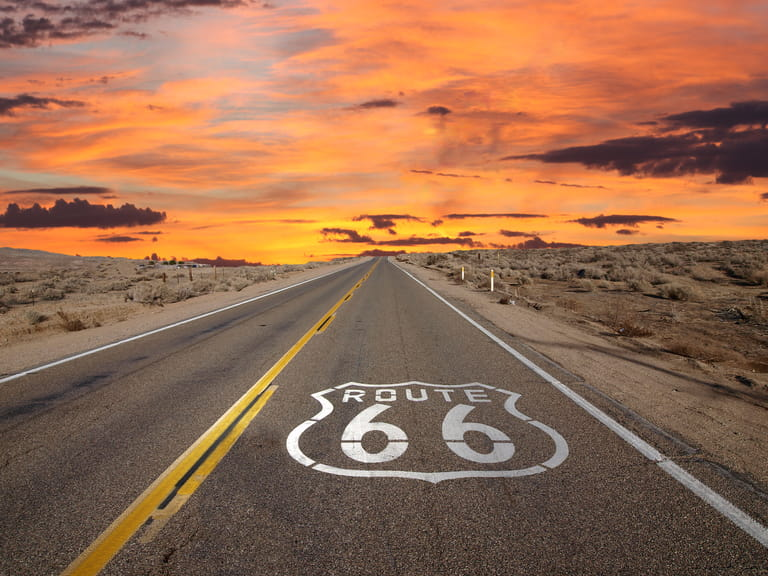 Famous Route 66 road mark