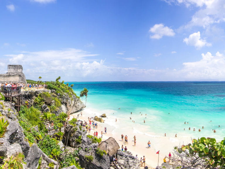 Tulum ruins overlooking the beach