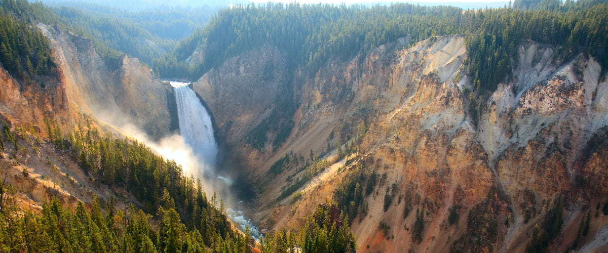 The Yellowstone River crashing over the Lower Falls in Yellowstone's Grand Canyon, America