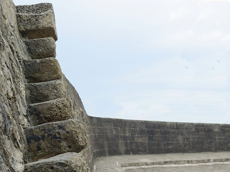 The precarious Granny's Teeth staircase in Lyme Regis, as featured in Jane Austen's Persuasion