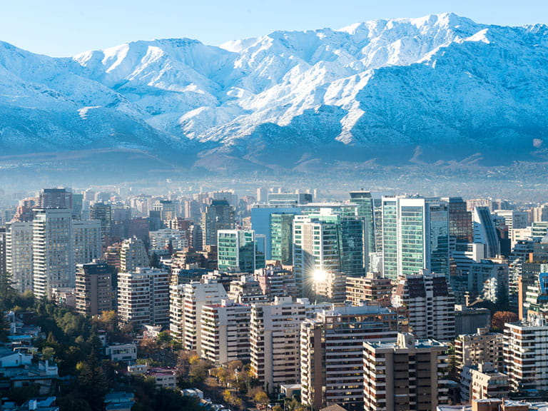 City skyline of Santiago in Chile with the snow-capped Andes in the distance