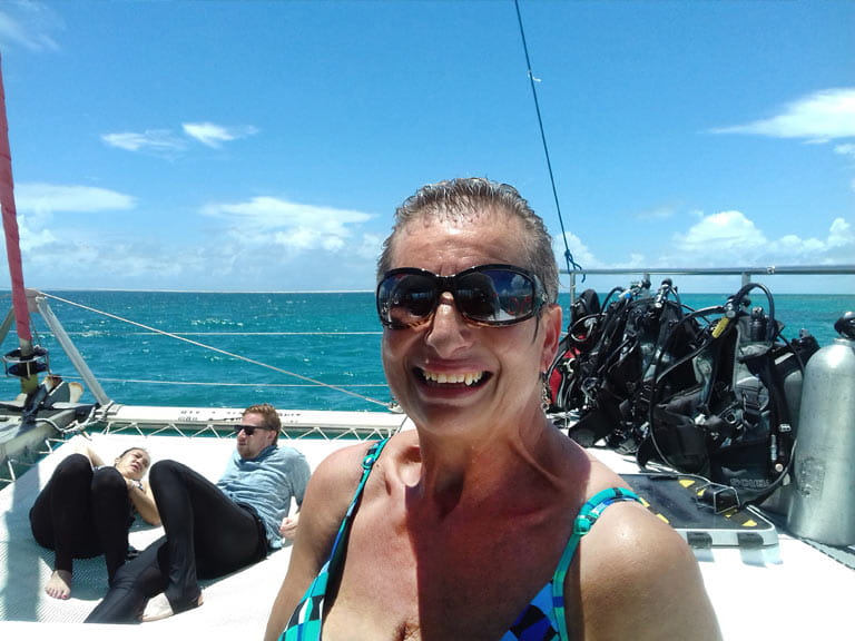 Shelley after snorkelling at the Great Barrier Reef