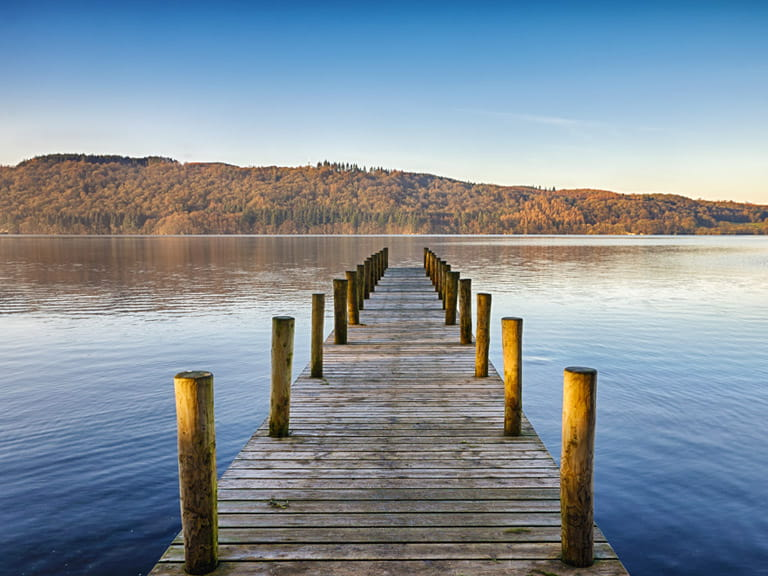 Wooden jetty on Lake Windermere