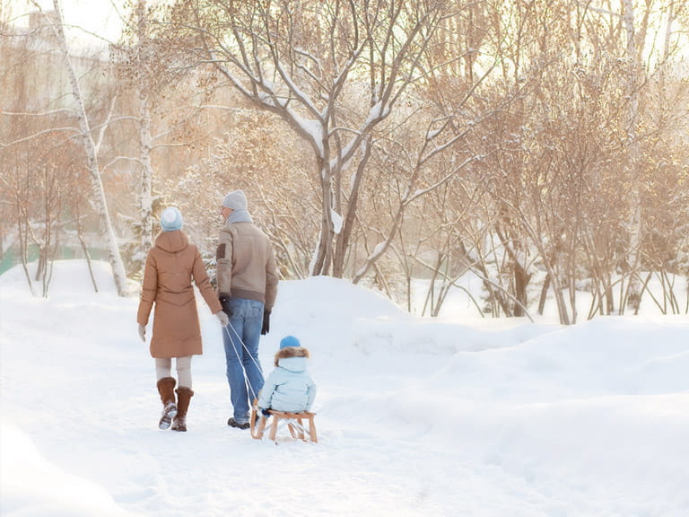 Couple taking a child on a winter woodland walk
