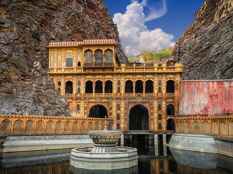 The lower bathing pool for Hindu pilgrims at the Galtaji, Monkey Temple, Jaipur.