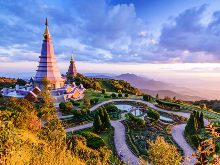 Landscape of two pagoda, place leisure travel in an Inthanon mountain, Chiang Mai, Thailand.