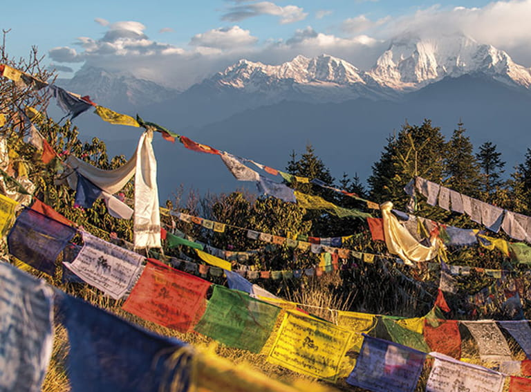 Prayer flags in Nepal by the Himalayas