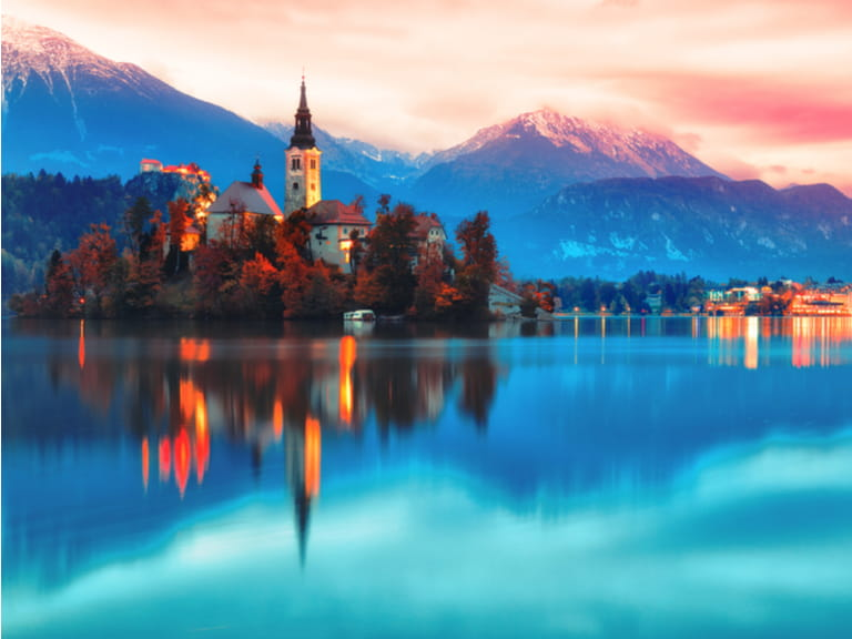 Night scene of Bled lake in Slovenia