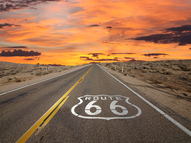 Famous Route 66 road sign