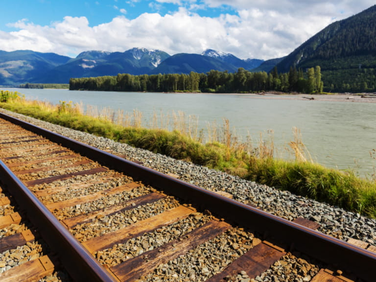 Rail track through the Rocky Mountains in Canada