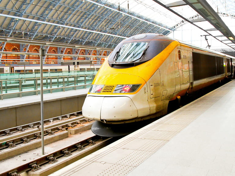 A Eurostar train waiting to depart in the station