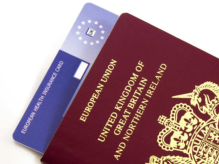 An EHIC tucked inside a British passport