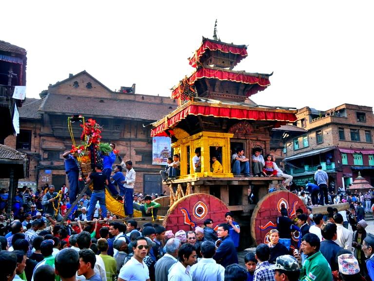 People on Bhairav Chariot near Nyatapola Temple on Bisket Jatra festival celebration.