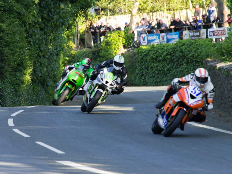 Riders during the Isle of Man TT