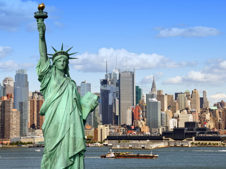 New York skyline with Statue of Liberty in September
