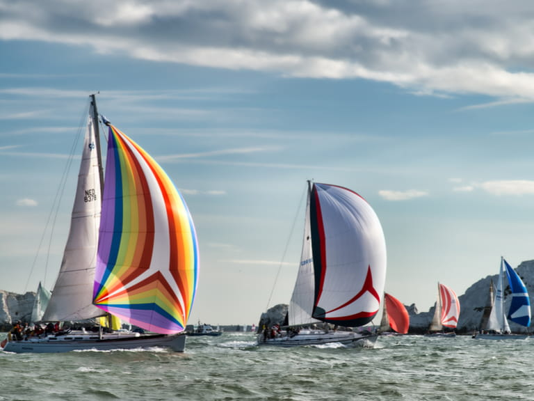 Yachts sailing off the Isle of Wight during the annual Round the Island Race