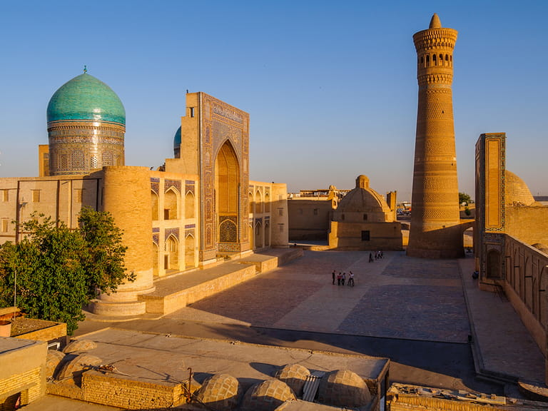 Panoramic view of the complex Poi Kolon at sunset, Bukhara, Uzbekistan