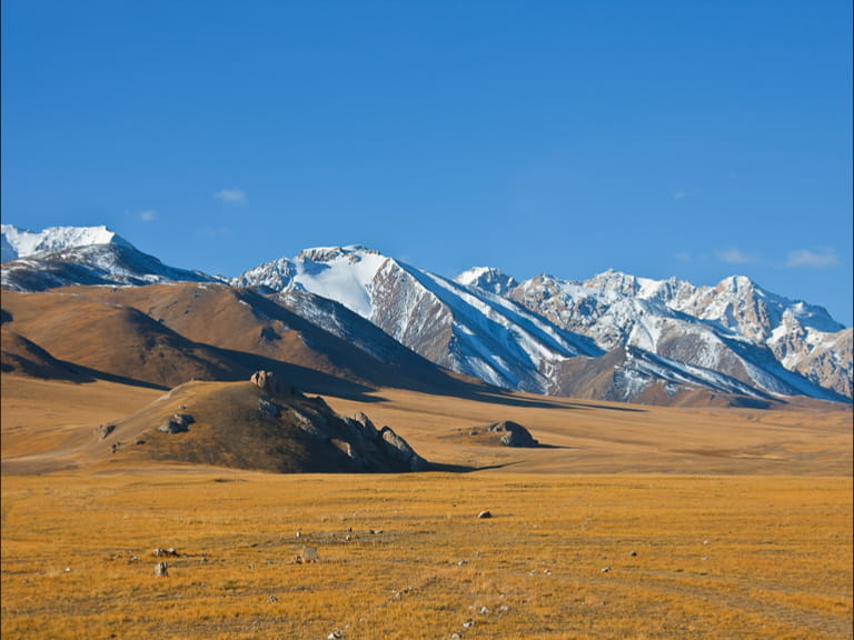 Mountain and steppe pastures in the Tien Shan. The Issyk-Kul region Kyrgyzstan