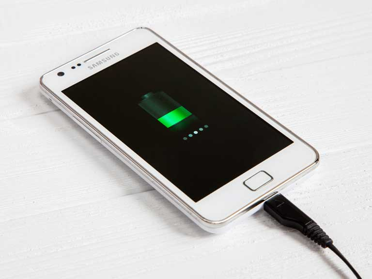 Mobile phone charging its battery