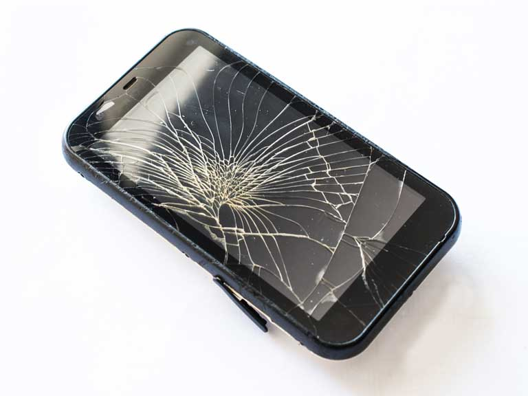 Cracked mobile phone screen