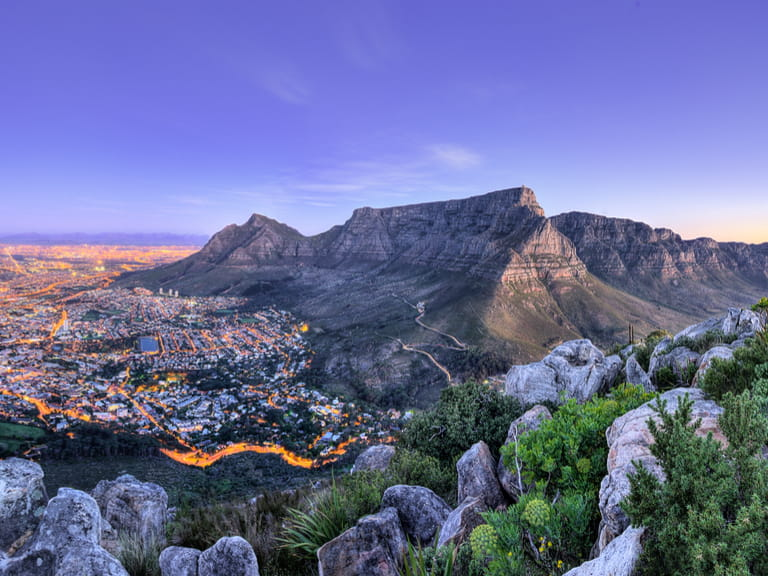 Ariel view of Cape Town at dusk