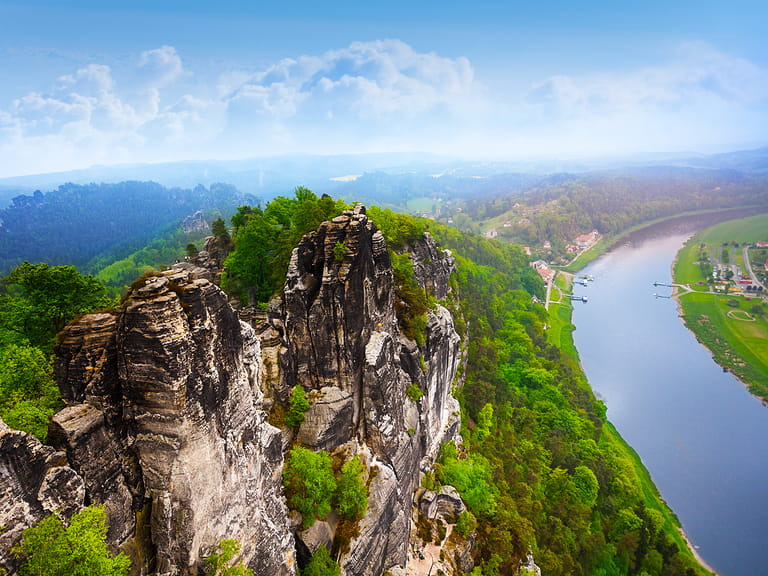 Beautiful view of Bastei rocks, Sachsische Schweiz near Dresden area, Germany