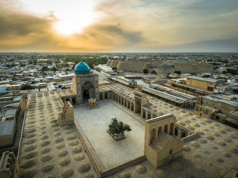 Aerial view of Bukhara, Uzbekistan at sunset