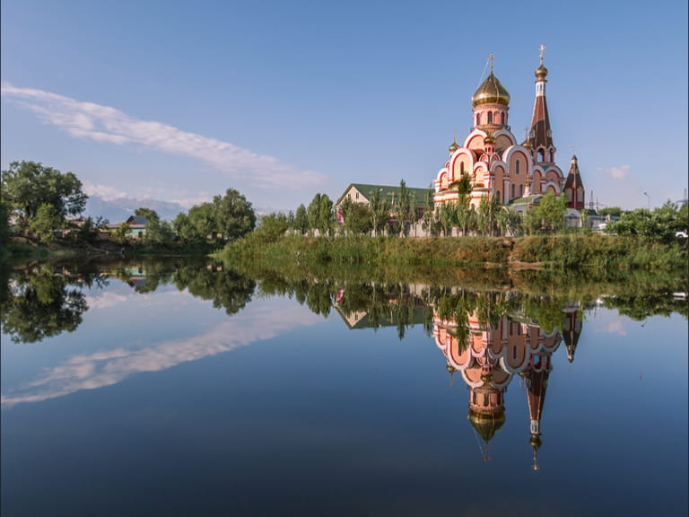 Reflection of a church in Almaty, Kazakhstan