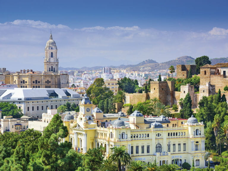 The skyline of Malaga, Spain